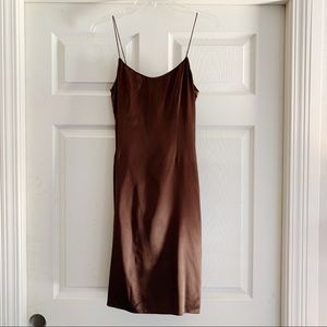 Rickie Freeman Teri Jon Brown Silk Slip Dress B419